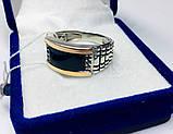 Печатка з золотом і оніксом в сріблі Даріан, фото 2