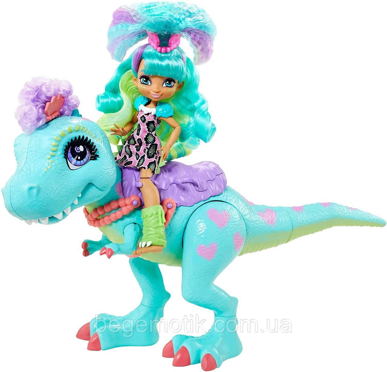 Cave Club Прогулка с динозавром кукла Рокелл и Тиразавр Mattel Cave Club Rockelle Doll and Tyrasaurus Dinosaur