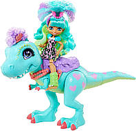 Cave Club Прогулка с динозавром кукла Рокелл и Тиразавр Mattel Cave Club Rockelle Doll and Tyrasaurus Dinosaur, фото 1