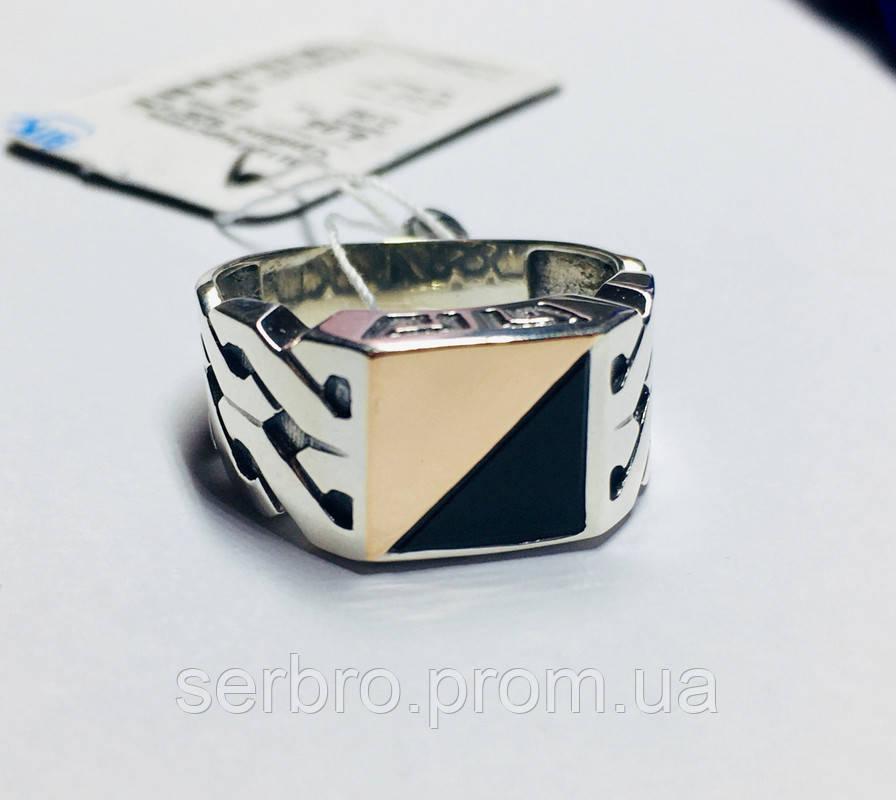 Печатка в серебре с золотом и ониксом Стивен
