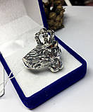 Срібна печатка з золотом Король Лев, фото 4