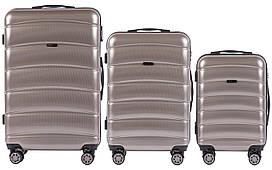 Набор поликарбонат чемоданов 3 в 1 Wings PC 160 на 4 сдвоенных колесах Бронзовый (Bronze)