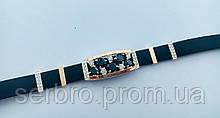 Каучуковый браслетик с черным цирконом и золотом серебро Фабиан