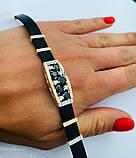 Каучуковий браслетик з чорним цирконом і золотом срібло Фабіан, фото 2