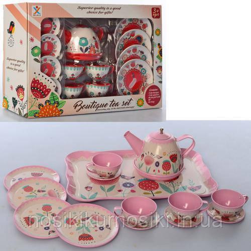 Набір іграшковою металевого посуду 966-A6-A7 Чайний сервіз на 4 персони, 2 кольори