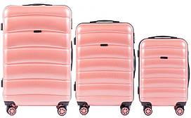Набор поликарбонат чемоданов 3 в 1 Wings PC 160 на 4 сдвоенных колесах Розовый (Pink)