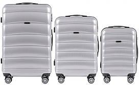 Набор поликарбонат чемоданов 3 в 1 Wings PC 160 на 4 сдвоенных колесах Серебряный (Silver)