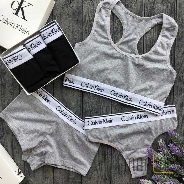 трусы женские, 3в1, стринги, топ, кельвин кляйн, трусики, Calvin Klein