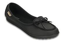 Туфли школьные для девочки мокасины Колорлайт / Crocs Wrap ColorLite Ballet Flat (16209), Черные