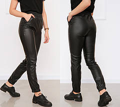 "Утеплённые кожаные штаны на флисе ""Маркус""  Норма, фото 3"