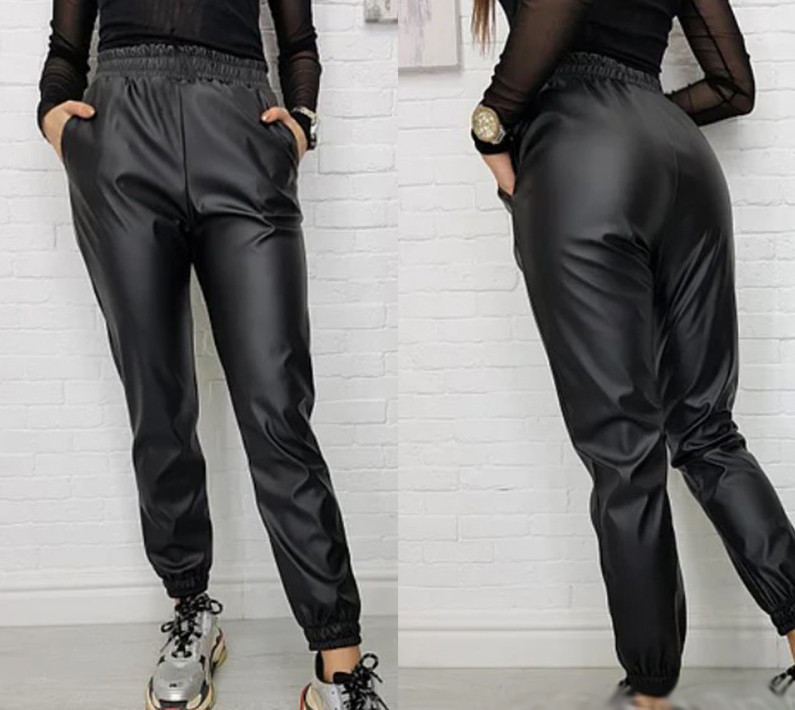 "Утеплённые кожаные штаны на флисе ""Маркус""  Норма"