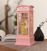 """Декор лампа ночник """"Телефонная будка розовая Фея и единорог"""" музыкальная со снегом и подсветкой, фото 1"""