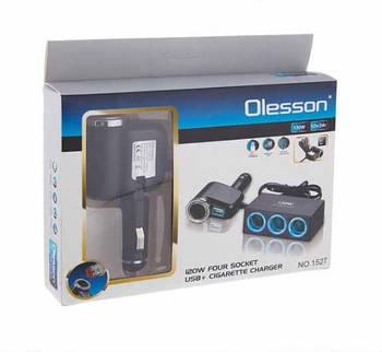 Прикурка-четырёхкратная Olesson CSL1527  прикурка/USB/LED Подсветкакабель 120W