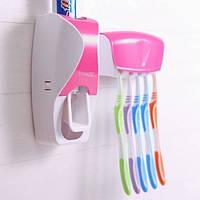 Держатель с дозатором для зубных щёток SKY Розовый
