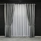 Комплект штор Petek на люверсах  Сірі штори з підхватами, фото 2