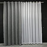 Комплект штор Petek на люверсах  Сірі штори з підхватами, фото 4