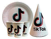 """Набор для детского Дня рождения """"Tik Tok"""". Тарелки, стаканы, колпачки по 10 шт."""