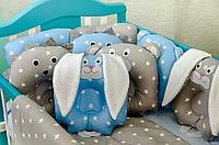 """Набор постельного белья в детскую кроватку/ манеж """"Лесные зверюшки"""" - Бортики / Защита в кроватку."""