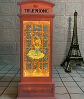 """Декор лампа ночник """"Телефонная будка розовая БАЛЕРИНА"""" музыкальная со снегом и подсветкой, фото 1"""