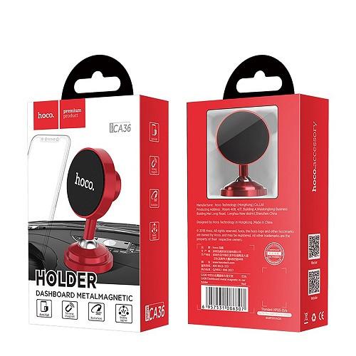 Автодержатель для телефона магнитный HOCO CA36 на скотче Black-Red