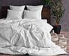 """Семейное постельное белье """"Элит"""" с простыней на резинке (14792) белый страйп-сатин люкс"""