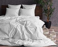 """Семейное постельное белье """"Элит"""" с простыней на резинке (14792) белый страйп-сатин люкс, фото 1"""