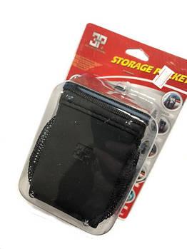Карман  для телефона сетка KH 802  Черный (кожзам вставка)