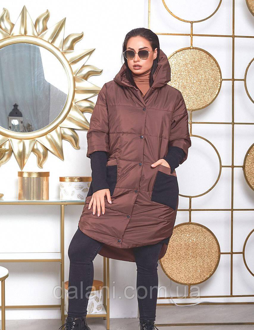 Женская удлинённая коричневая куртка на синтепоне батал