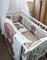 """Набор постельного белья в детскую кроватку/ манеж """"Мишки"""" - Бортики / Защита в кроватку ."""