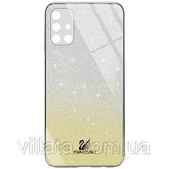 TPU+Glass чехол Swarovski Full Camera для Samsung Galaxy M51 Золотой