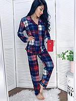 Пижама женская на пуговицах в клетку с повязкой для глаз, фото 1