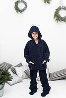 Теплая махровая темно-синяя пижама с носочками в подарок любимому сыну