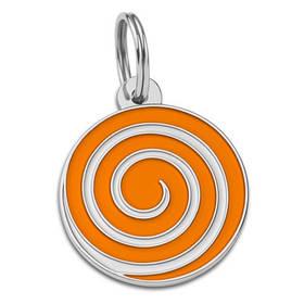 Адресник емальований Льодяник помаранчевий, діаметр 2,8 см (гравірування під замовлення 3-7 днів)