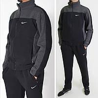 Размеры: L (48/50), 2XL (52/54). Утепленный спортивный костюм Nike / Трикотаж трехнитка - черный/серый