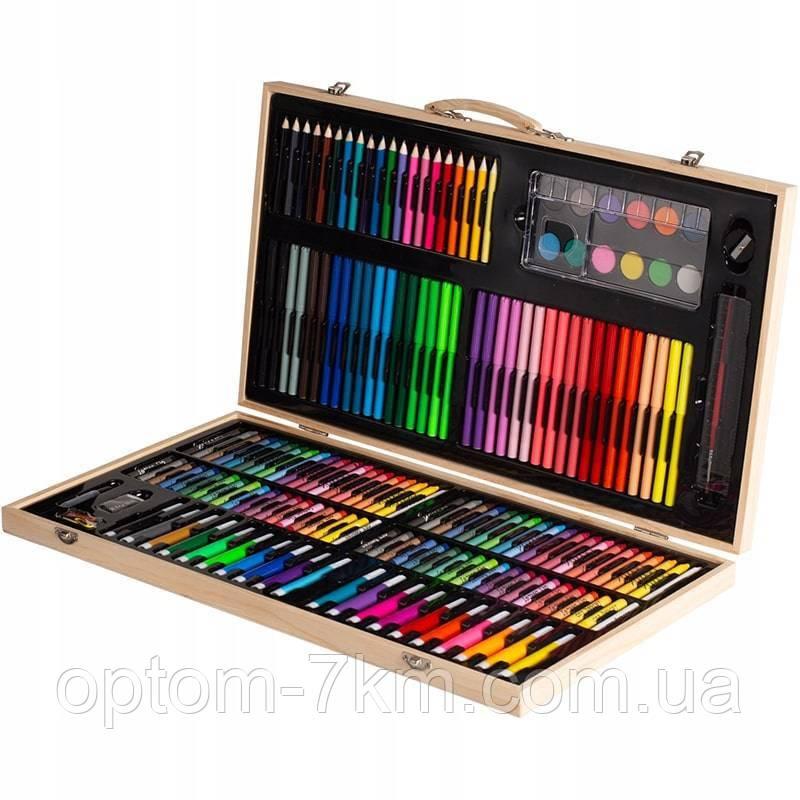 Набор для творчества рисования детский художественный набор 220 предметов в чемодане 3910 VJ