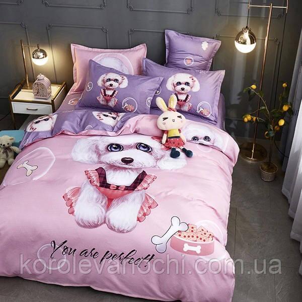 """Євро комплект (Бязь)   Постільна білизна від виробника """"Королева Ночі""""   Собаки на рожевому і фіолетовому"""