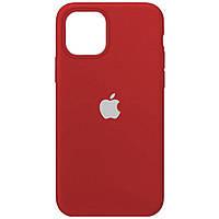 Чехол силиконовый на айфон Silicone Case для iPhone 12 / 12 Pro camellia white темно красный