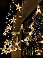 Новогодняя светодиодная гирлянда Штора «Трио» (ёлочки + Звезды+ колокольчики)