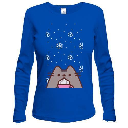Лонгслив с Пушин котом и снегом