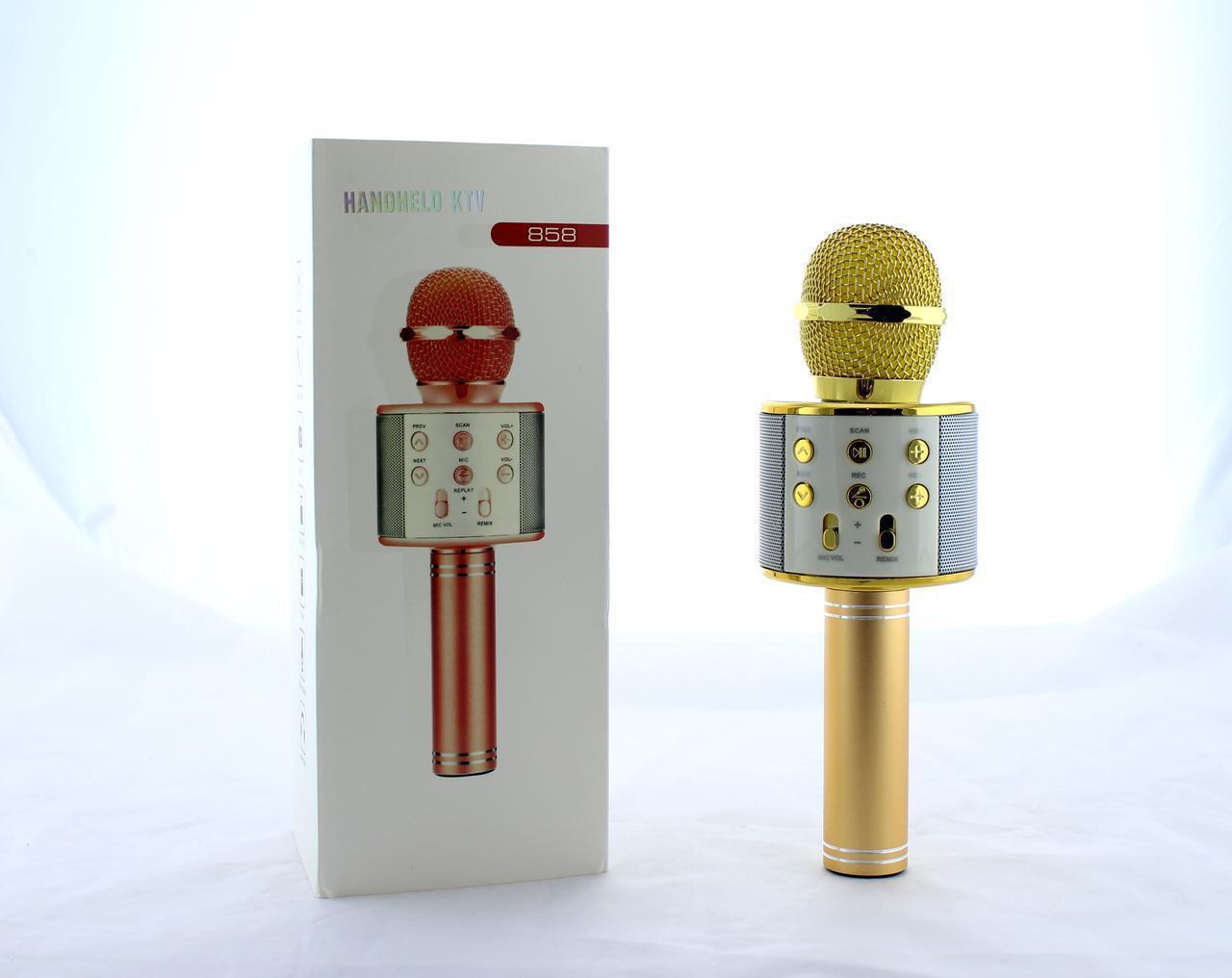 Микрофон DM Karaoke  WS858, Микрофон для караоке, 2 в 1 - динамик и микрофон, Беспроводной микрофон