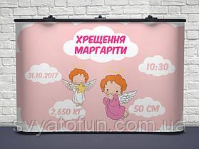 Баннер на крещение именной Ангелочки розовый
