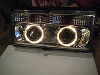 Передние фары на ВАЗ 2105 хромированные №1 с Ангельскими глазками.
