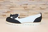 Туфли лоферы женские белые с черным Т1047, фото 2