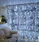 Гирлянда Штора светодиодная, 200 LED, Белая, прозрачный провод, 2х2м., фото 2