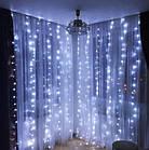 Гирлянда Штора светодиодная, 200 LED, Белая, прозрачный провод, 2х2м., фото 3