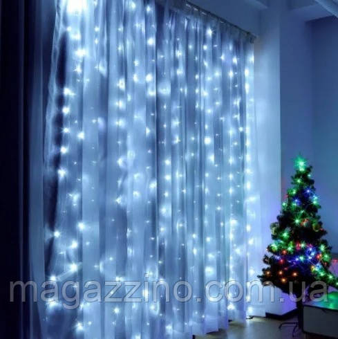 Гирлянда Штора светодиодная, 200 LED, Белая, прозрачный провод, 2х2м.