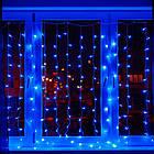 Гирлянда Штора светодиодная, 200 LED, Голубая (Синяя), прозрачный провод, 2х2м., фото 2
