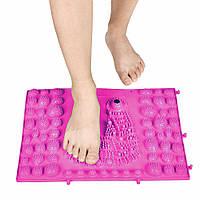 Коврик-пазл ортопедический массажный резиновый с магнитами (39сx28см) Розовый