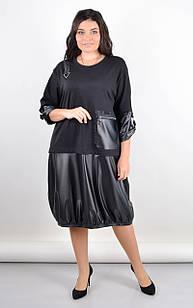 Платье свободное стильное комбинированное большого размера. Черный. Фаина.
