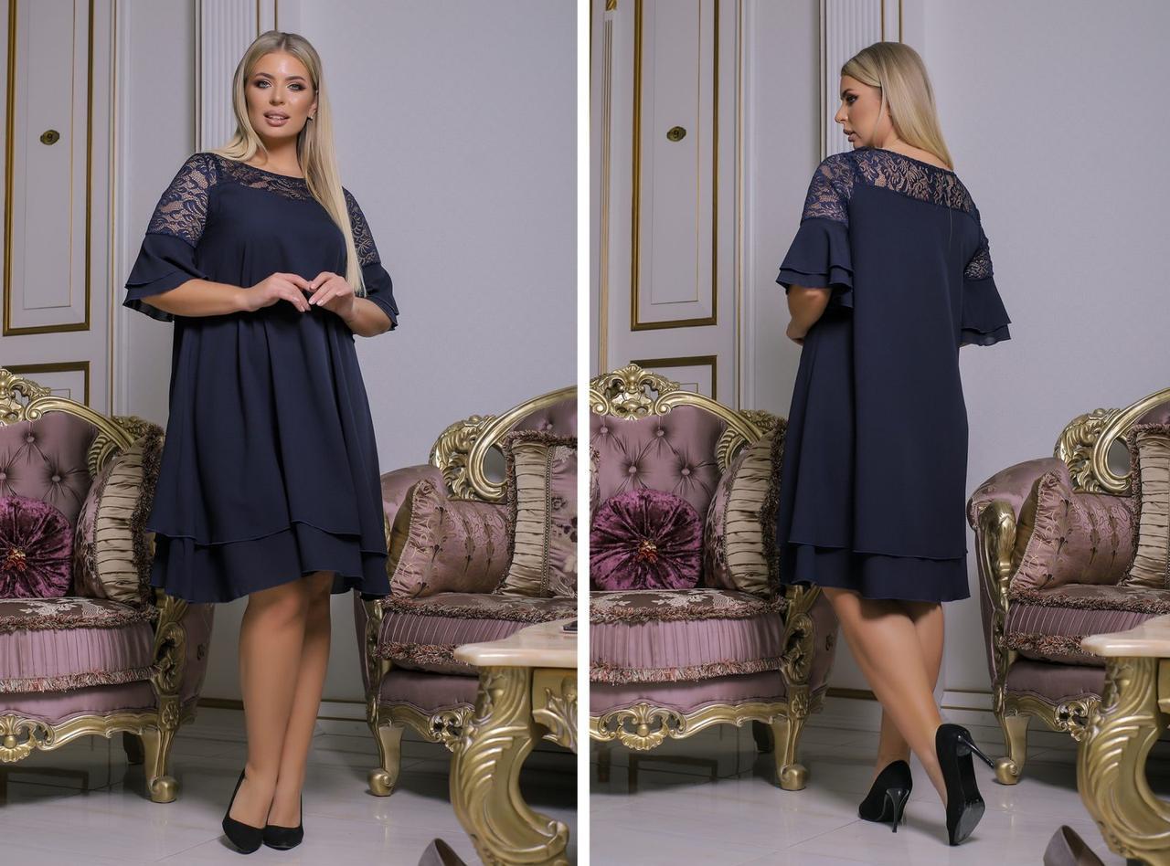 Женское шифоновое платье черное 8322
